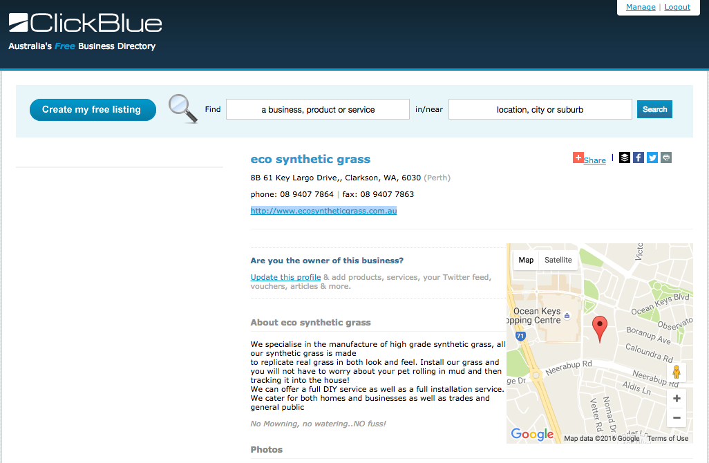 Click Blue Perth Landscape Directory Listing