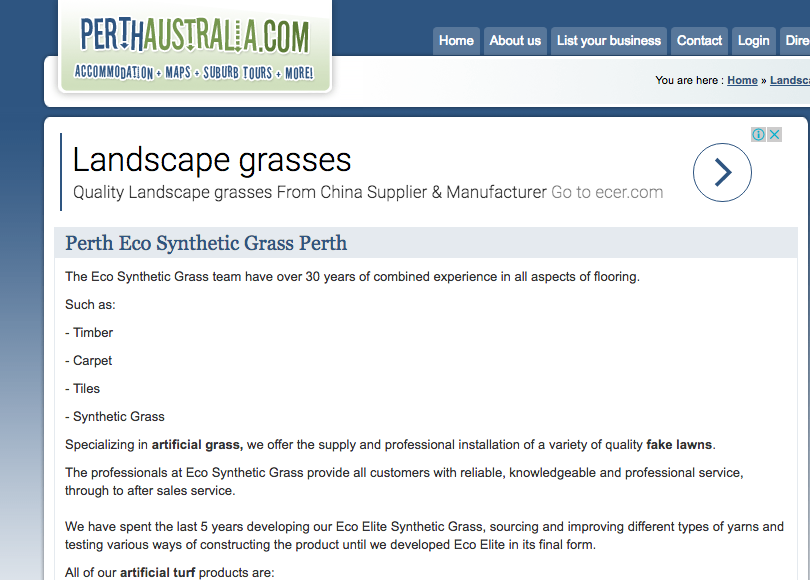 Perth Australia Landscape Directories for Eco Synthetic Grass